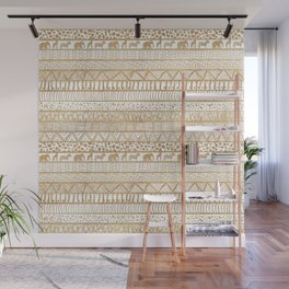 Trendy White & Gold Tribal African Pattern Wall Mural