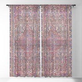 Kashan Central Persian Silk Rug Print Sheer Curtain