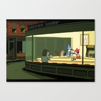 regular show Canvas Prints featuring regular show nighthawks by Dave Collinson