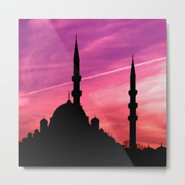 mosque silhouette istanbul Metal Print