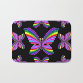 Butterfly Psychedelic Rainbow Bath Mat