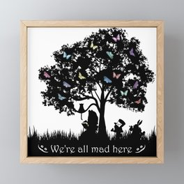 We're All Mad Here III - Alice In Wonderland Silhouette Art Framed Mini Art Print