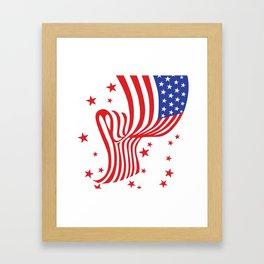 AMERICAN FLAG  & RED STARS JULY 4TH ART Framed Art Print