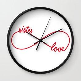 Sister love, infinity sign Wall Clock
