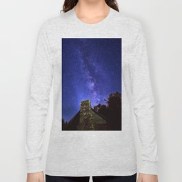 Our Milky Way Over Preacher Brown's Cabin Off Blue Ridge Parkway NC Long Sleeve T-shirt