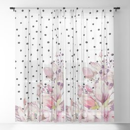 Boho Blush Flowers and Polka Dots Sheer Curtain