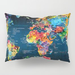 World Map Black - 2 Pillow Sham
