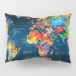 World Map Black - 2 Pillow Sham