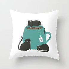 CATS + TEA Throw Pillow