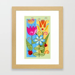 Decorative flowers, ladybugs and a bird Framed Art Print