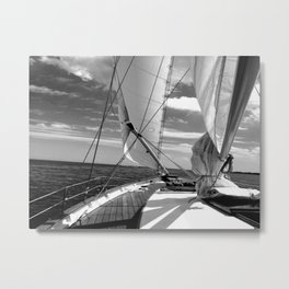 Black - white sailboat details   Annapolis, MD Metal Print