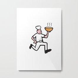 Chef Cook Running Holding Bowl Cartoon Metal Print
