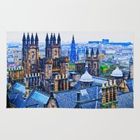 edinburgh Area & Throw Rugs featuring Edinburgh Rooftops  by Valerie Paterson