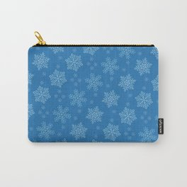 Dancing Snowflakes Blue Background Carry-All Pouch