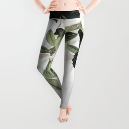 Woman With Flowers and Butterflies 3 Leggings