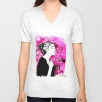 smoking V-neck T-shirts featuring Smoking Flowers by Mariam Tronchoni