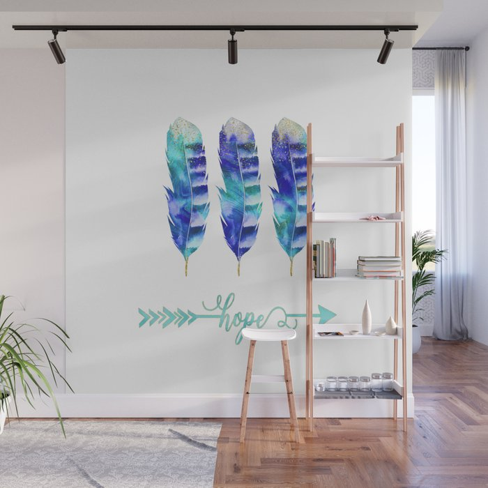 Motivational Blue Feather Watercolor Hope Wall Mural by artandstyle