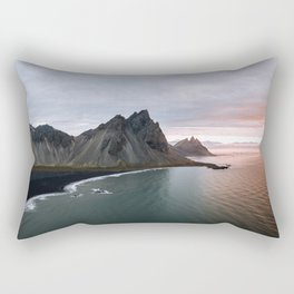 Iceland Mountain Beach Sunrise - Landscape Photography Rectangular Pillow