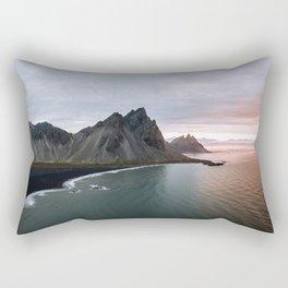 Iceland Mountain Beach Sunrise - Landscape Photography Rectangular Pillow