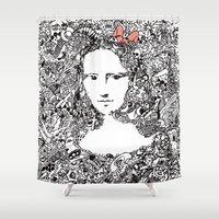 mona lisa Shower Curtains featuring Mona Lisa by Gribouilliz