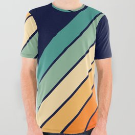 Farida - 70s Vintage Style Retro Stripes All Over Graphic Tee