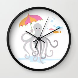 Sweet octopus with a Parasol Wall Clock