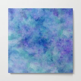 Bright Blue Watercolor Texture Metal Print
