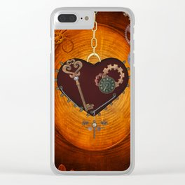 Steampunk, heart with gears Clear iPhone Case