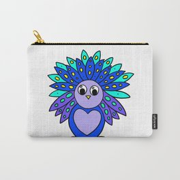 Drawn by hand a Friendly and funny little peacock for children and adults Carry-All Pouch