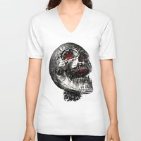 cyberpunk V-neck T-shirts featuring No Laughing Matter (background option) by Obvious Warrior