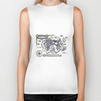 neverland Biker Tanks featuring Neverland Illustration  by Mark Karwowski