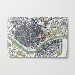 Seville city map engraving Metal Print