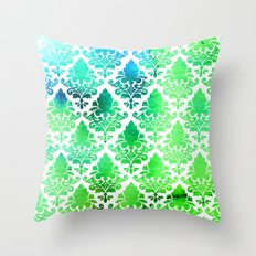 Damask in Bright Seaweed Throw Pillow