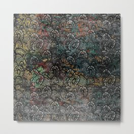 Burned Color  Paisley Pattern on  Wood Metal Print