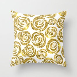White & Gold Rose Pattern Throw Pillow