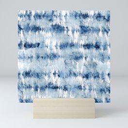 Modern hand painted dark blue tie dye batik watercolor Mini Art Print