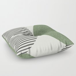 Semicircle Stripes - Green Floor Pillow