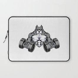 Pitbull at Bodybuilding with Dumbbells Laptop Sleeve
