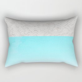 Painted Marble - Gray Aqua Silver Rectangular Pillow