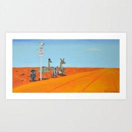 Aussie Outback Bus Stop Art Print