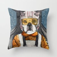 dexter Throw Pillows featuring Dexter by The-MoonSquid