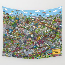 Illustrated map of Berlin-Prenzlauer Berg Wall Tapestry