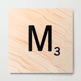 Scrabble Letter M - Large Scrabble Tiles Metal Print