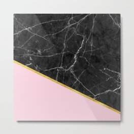 Black marble geometric gold leaf with pink Metal Print