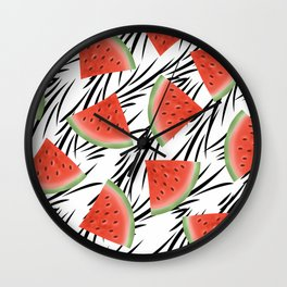 Watermelon slices on white black stripes on the background. Wall Clock