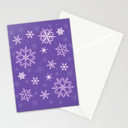 snowflakes on the blue Stationery Cards