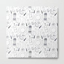 Black hand drawn ratatouille sketched pattern Metal Print
