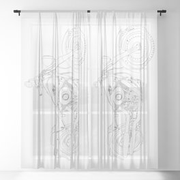 drawing of a motorcyle Sheer Curtain
