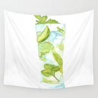 cocktail Wall Tapestries featuring Mojito Cocktail by Claire Elizabeth Artwork