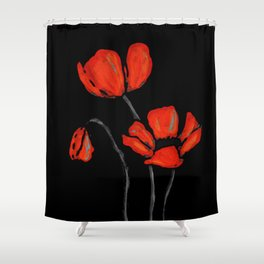 Red Poppies On Black by Sharon Cummings Shower Curtain